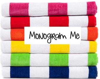 "Custom Cabana Stripe Beach Towels - 30"" x 60"""