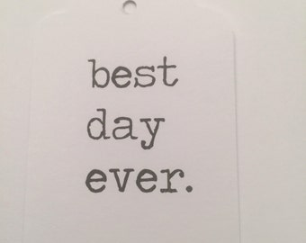 Set of 24 Typewriter Best Day Ever Wedding Bridal Shower Gift Tags Favor Tags