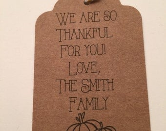 Set of 8 Thankful For You Personalized Thanksgiving Kraft Fall Wedding Favor Gift Tags Favor Tags-Ships in 3-5 days!