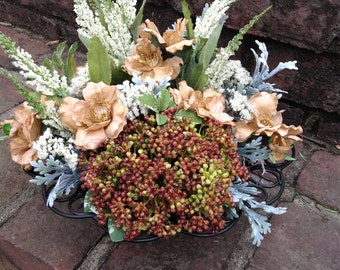 Floral Arrangement in a scrolled heavy metal Bowl. Just the perfect size for anywhere!!!