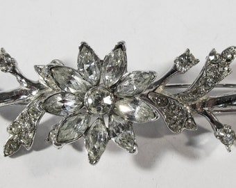 Vintage 1960s Silver Toned Floral Rhinestone Trembler Barrette