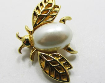 Vintage 1960s Signed Marvella Faux Pearl Figural Insect Pin