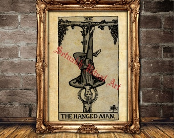 The Hanged Man print, Tarot art, Tarot poster, magick, fortune-teller, occult poster, mystic, magic art, esoteric home decor #396.12