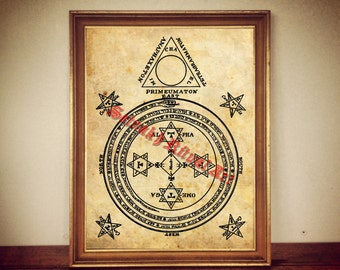 The Magical Circle of King Solomon print, poster, The Lesser Key, occult print, magic illustration, esoteric poster, summoning spirits #265