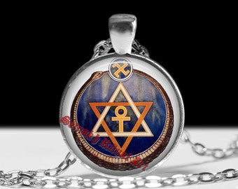 The seal of the Theosophical Society pendant, occult necklace, magic talisman, esoteric jewelry, ceremonial magick, amulet, lamen #268