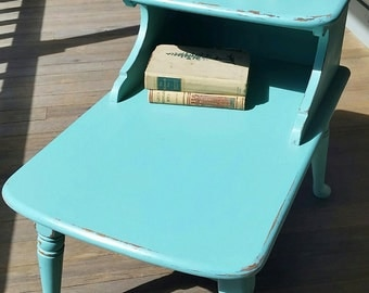SOLD***Painted tiered side table, beach cottage, turquoise