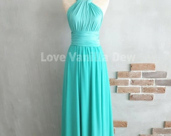 Bridesmaid Dress Infinity Dress Turquoise  with Chiffon Overlay Floor Length Maxi Wrap Convertible Dress Wedding Dress