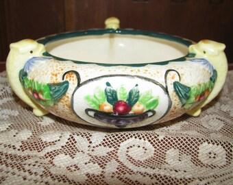 Vintage Majolica bowl with three yellow fish
