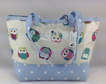 Owl Oilcloth tote bag, laminated cotton tote bag, Daybag, beach bag.