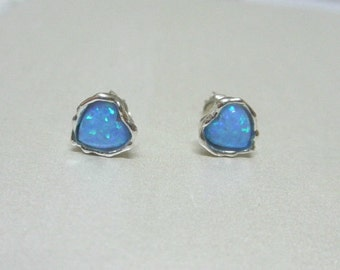 Opal Hearts Stud Post Earrings Pure Beauty