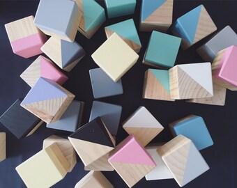 Painted Wooden Baby Blocks- Wooden Blocks- Baby Blocks - Set of 3 or 6