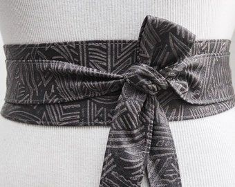 Sale! Grey Aztec Tribal Leather Obi Belt | Aztec Ethnic Belt | Obi belt |Leather Belt| Plus Size Belts