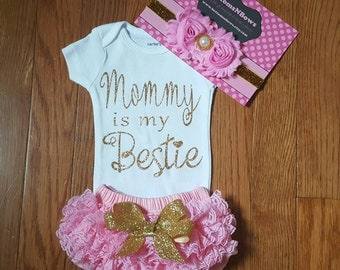 "Ready to ship Gold Glitter Vinyl""Mommy is my Bestie ""Onesie, Lace ruffled Bum Bloomers,& Headband Set,newborn, hospital outfit,take home set"