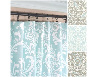 Light Blue Window CurtainsBlue Taupe DrapesBirds CurtainTaupe Kitchen Curtain Panel