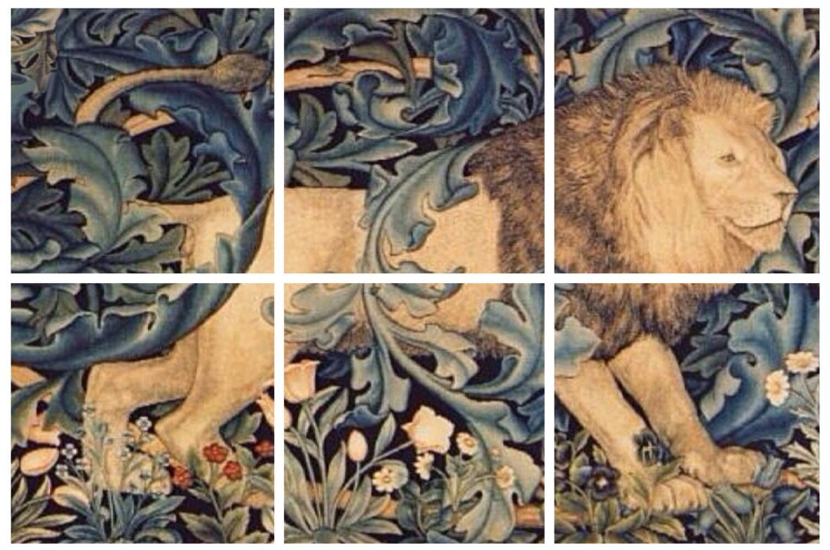 Lovely arts and crafts william morris lion forest 6 x 6 or for Arts and crafts mural