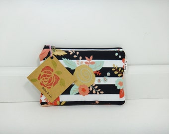 Piper Floral Small Cosmetic Bag, Small Pouch, Makeup Bag, Small Pouch Purse, Small Cosmetic Pouch, Zipper Pouch, Makeup Pouch