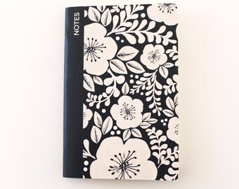 Floral Pattern Lined Notebook - Navy