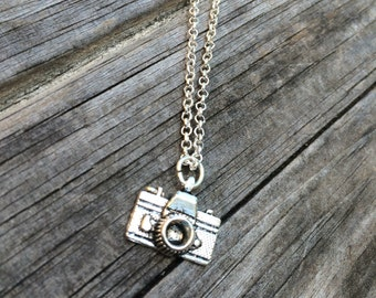 Camera charm on a Silver Plated Necklace 18 inches, photography necklace, photographer necklace