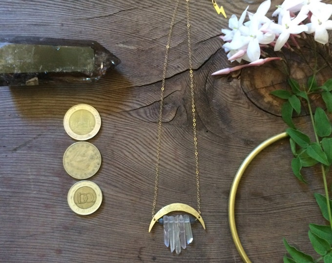 No. 41 Moonbow Lightning Necklace Quartz Cluster Hammered Brass Crescent Moon Adjustable Choker Mystic Magical