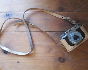Vintage Bolsey 35 Model B Camera with Leather Strap, vintage camera, old camera, camera strap, camera and strap, bolsey camera