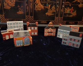 The Cat's Meow Collectible Hand Painted Historical Wood Houses Village, Set of 8 Hand Painted Wood Village Houses, by Faline 1987, 1988