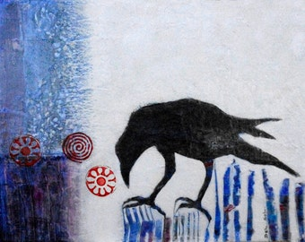RAVEN THE TRICKSTER:  Original Contemporary Raven Goth Painting, Mixed Media-