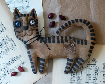 Primitive cat Extreme primitive folk art doll The unique gift fragrant handmade Big cat Vasya.