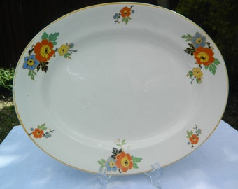 Vintage English Ironstone Platter, Floral Yellow/Orange/Blue Design with Gold Rim