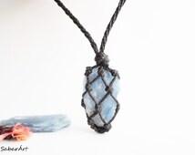 Blue kyanite, blue kyanite necklace, kyanite necklace, vibration stone, meditation stone, meditative jewelry, stone to open chakras