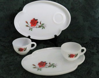 Rosecrest Lunch Set/ Federal Glass/ Milk Glass/ Luncheon Plate and Cup/ Red Roses