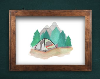 Camping Watercolor Print. Original Painting. Adventure. Gift. Camping. Forest. Wanderlust. Exploring. Trees. Mountains. Wall Art. Nursery