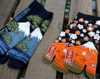 Japanese Tabi Sock_Flip Flop Toe Sock_kimono_mountain