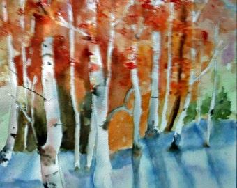 WATERCOLOR, ASPEN TREES, Fine Art, Giclee Print, Home Decor