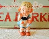 LMJ Japan Supreme Quality Girl with Basket Porcelain Figurine ; Blonde and Blue Dress