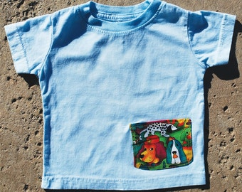 Child's 6 Month T-Shirt, Hand Dyed, Featuring a Big Puppies Pocket