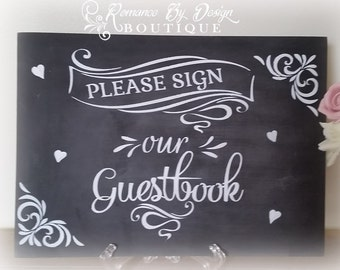 Guestbook Chalkboard Wedding Sign