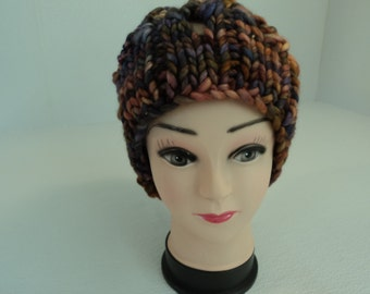 Handcrafted Beanie Slouchy Hat Gold Blue Purple 100% Merino Wool Female Adult
