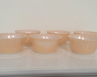 Peach Luster Fire King Ramakins - Set of 6