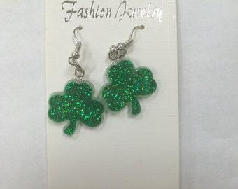 Sparkly Green Leave Clover Irish St. Patricks Day Stainless Steel Novelty Jewelry Accessories/Girls Dangle Earrings