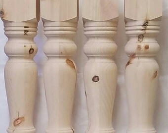 Set of four knotty pine dining table legs 5 1/4 x29 unfinished Wood