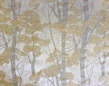 Cream, and Light Gold Tree Fabric - Upholstery Fabric by the Yard