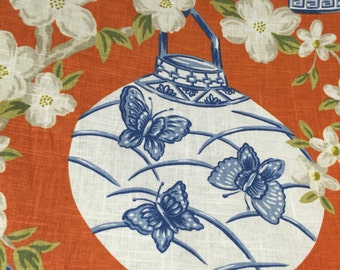 Blue - Orange - Chinoiserie - Asian Lanterns - Upholstery Fabric by the Yard  - Drapery Fabric