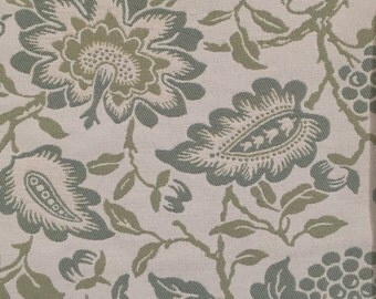 Floral - Blue - Green - Upholstery Fabric by the Yard