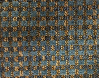 Aqua, Blue, and Nautral Woven Fabric - Upholstery  Fabric by the Yard