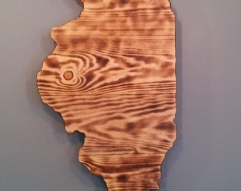 Rustic Illinois State Sign/Plaque, Add a heart to your location