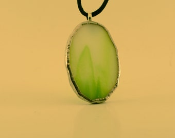 Green Oval Stained Glass Pendant