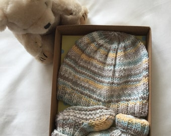 Knitted Baby Hat and Booties Gift Set in Neutral Colours