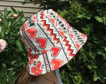Red hearts indian print flannel Women's Hat Reversible Bucket hat. Bucket hat. Beach Hat. Sun Hat.
