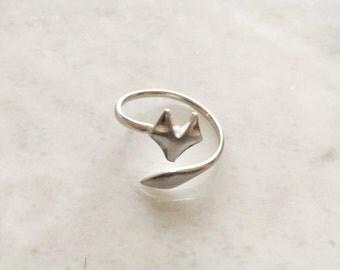 925 Sterling Silver Fox Ring