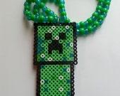 Minecraft inspired Kandi Necklace//Kandi Necklace//creeper//Creeper Necklace//